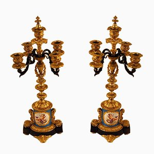 Antique Bronze & Porcelain Candelabras, Set of 2