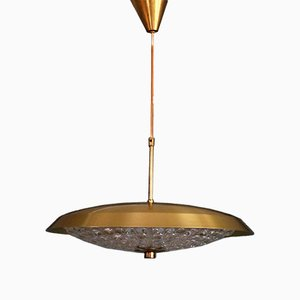 Lampada a sospensione in ottone e vetro di Carl Fagerlund per Orrefors, anni '60