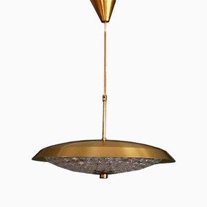 Lámpara colgante de vidrio y latón de Carl Fagerlund para Orrefors, años 60