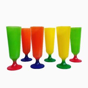 Bicchieri Rainbow, anni '70, set di 6