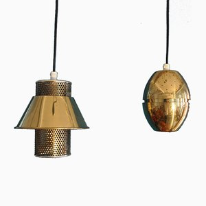Perforated Brass Pendants by Hans-Agne Jakobsson, 1960s, Set of 2