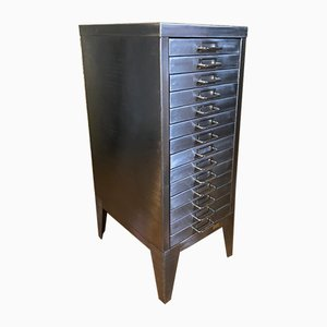Vintage Industrial Stripped Metal Filing Cabinet with 14 Drawers