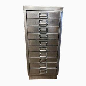 Industrieller Vintage Aktenschrank aus geschliffenem Metall mit 10 Schubladen