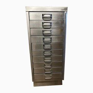 Industrieller Vintage Aktenschrank aus geschliffenem Metall mit 8 Schubladen