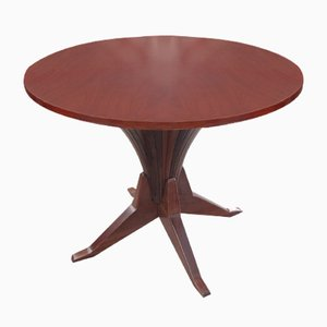 Mid-Century Round Wooden Table, 1950s