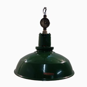 English Enamel Factory Ceiling Light from Mazdalux, 1950s