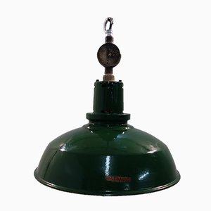Lámpara de techo de fábrica inglesa esmaltada de Mazdalux, años 50