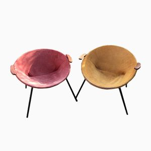 Vintage Balloon Armchairs in Suede by Hans Olsen for LEA, Set of 2