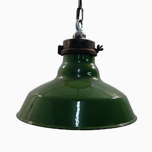 Enamel Factory Ceiling Light from Benjamin, 1940s