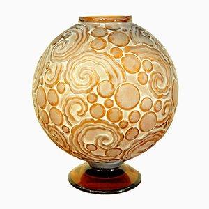 Art Deco Les Volutes Vase aus bernsteinfarbenem Glas von Sabino, 1927