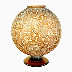 Art Deco Les Volutes Vase in Amber Colored Glass from Sabino, 1927