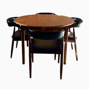 Round Dining Table & 4 Dining Chairs by Kai Kristiansen, 1970s