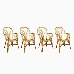 Chaises Vintage en Rotin, Set de 4