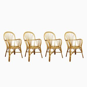 Vintage Rattan Chairs, Set of 4