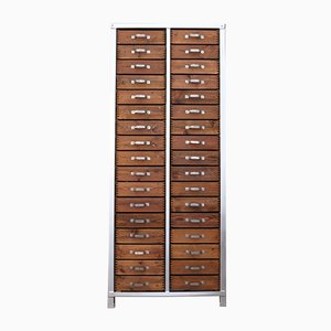 Industrial Walnut Cabinet with 34 Drawers, 1950s