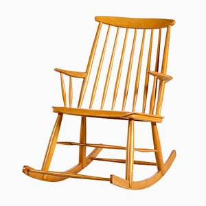 Vintage Beech Rocking Chair, 1970s