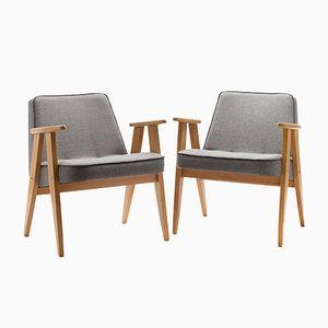Vintage Type 366 Lounge Chairs by J. Chierowski for Dolnośląska Fabryka Mebli w Świebodzicach, Set of 2
