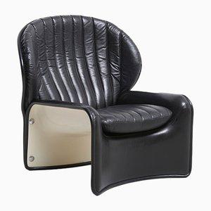 Lotus Chair aus weiß lackiertem Polyester & schwarzem Leder von Andre Vandenbeuck für Strässle, 1970er