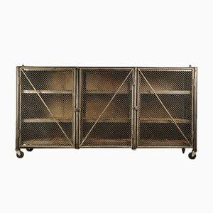 Unidad de almacenamiento industrial vintage de acero, años 50