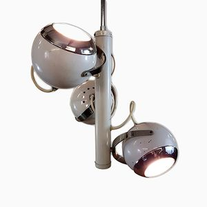 White Eyeball Ceiling Trio Light, 1970s