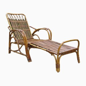 Cane & Rattan Chair with Footrest, 1920s