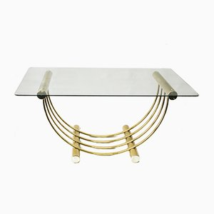 Brass Plated Dining Table with Glass Top, 1960s
