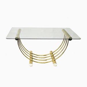 Messing überzogener Esstisch mit Glasplatte, 1960er