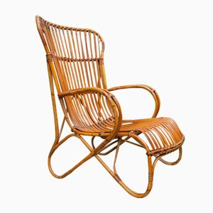 Large Cane & Rattan Lounge Chair, 1920s
