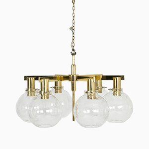 Brass & Glass Chandelier by Hans-Agne Jakobsson, 1960s