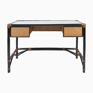 French Ebonized Bamboo & Cane Desk, 1950s