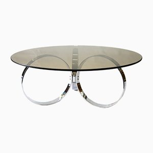 Vintage Glass and Chrome Plated Coffee Table