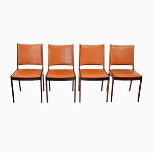 Esszimmerstühle aus Palisander & Leder von Johannes Andersen für Uldum Møbelfabrik, 4er Set