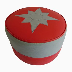 Vintage Orange & Grey Vinyl Pouffe, 1960s