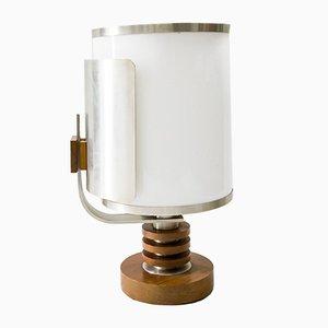 Vintage Glass, Wood & Aluminum Swivel Table Lamp