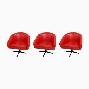 Poltrone rosse, anni '60, set di 3