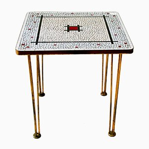 Glass Mosaic Coffee Table on Brass Legs, 1960s