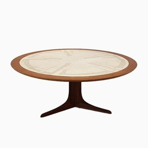 Round Coffee Table with Mosaic Top and Rosewood Base, 1960s