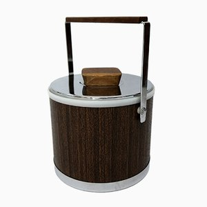 Teak Veneered Ice Bucket from Kromex, 1970s