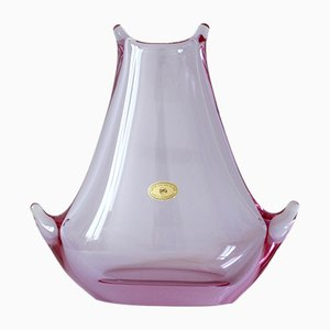 Rose Pink Glass Vase from Železnobrodské Sklo, 1960s