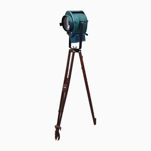 Vintage Blue Projector from AE Cremer on Wooden Tripod from SNCF