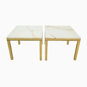 Tables Basses Hollywood Regency avec Plateau en Marbre, 1960s, Set de 2