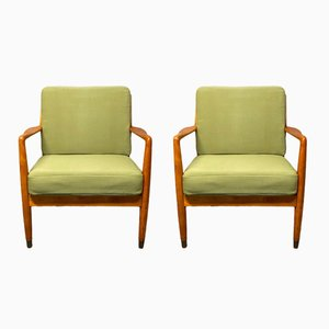 Swedish Beech Easy Chairs by Folke Ohlsson for DUX, 1960s, Set of 2
