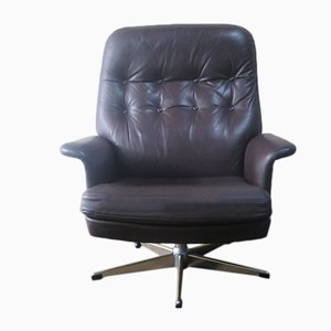 Leather Swivel Armchair, 1970s