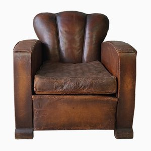 Charmant Vintage French Art Deco Leather Club Chair