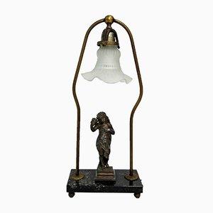 Antike Tischlampe aus Bronze, Marmor & Glas, 1900er