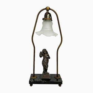 Antique Bronze, Marbe & Glass Table Lamp, 1900s