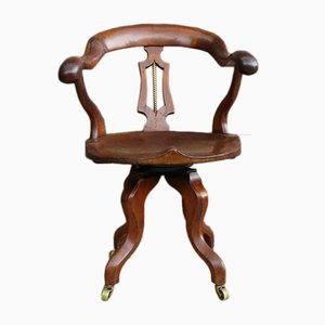 Antique English Walnut Swivel Chair