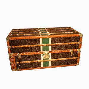 Vintage Canvas & Brass Steamer Trunk from Louis Vuitton