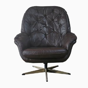 Danish Leather Bucket Swivel Armchair, 1970s