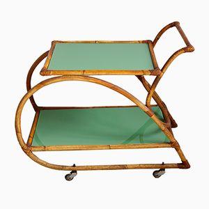 Mid-Century Barwagen aus Bambus mit grünem Glas